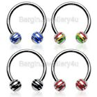 1x16g &14g Horseshoe Ring with Striped Balls Eyebrow-Lip-Ear Body Jewellery