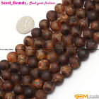 "Round Brown Agate JewelryMakingGemstone Loose Beads Strand 15""Size pick SD7294-V"