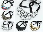 Ribbon Fastening Multi Gem Collar Bib Statement Necklace - Choose Colour