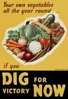 WB34 Vintage WW2 British Grow Your Own Dig For Victory WWII War Poster A2/A3/A4