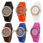 New Women Lady Golden Soft Silicone Strap Bling Crystals Multi-color Wrist Watch