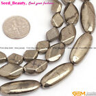 "Oval flat pyrite gemstone jewelry making loose beads 15"" 10x25mm 8x10mm 10x16mm"