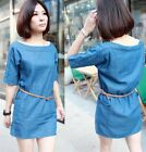 2014 spring western lady women washed denim dress loose skirts tops with belt