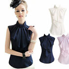 WOMEN'S CHIFFON ELEGANT BOW STAND COLLAR SLEEVELESS FLOUNCED SHIRT BLOUSE TOPS