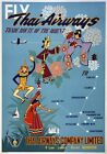 TX310 Vintage 1950's Thai Airways Thailand Orient Travel Poster A1/A2/A3/A4
