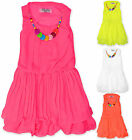 Girls Chiffon Summer Dress With Necklace Kids Party Dresses New Age 2 - 12 Years