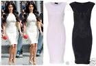 Ladies Kim Kardashian Celebrity Print Womens Bodycon in Black and White Dress
