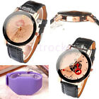 Womens Decor Sexy Lip KISS & Heart FOR ME Quartz Analog Wrist Watch PU Leather
