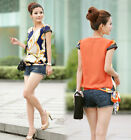 LADY vintage Chiffon Short Sleeve Casual Printed T-shirt Top Blouse S/M/L/XL ONE