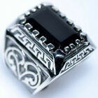 Emerald cut Black Onyx Solid Sterling SILVER Rings New 925 Mens Ring 14gm Chunky