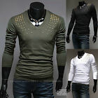 New Men's Fashion Casual Slim Fit V-neck Long Sleeve Tops Tee T-shirt 3 Color
