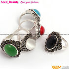10X16mm oval beads tibetan silver marcasite ring 21x26mm size #6-#9 ,6 materials
