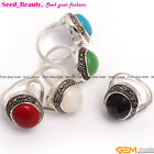 12X14mm oval beads tibetan silver marcasite ring 17x21mm size #6-#9 ,9 materials
