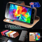 AU Brand New Genuine Wallet Leather Cover Case For Samsung Galaxy S5