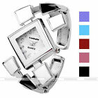 Luxurious Womens Ladies Check Grid Decor Quartz Analog Wrist Watches Bangle Cuff