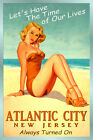 ATLANTIC CITY Jersey Beach Travel Poster Time of Our Lives Miley Pin Up Art 167