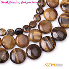 "Natural coin yellow tiger eye gemstone jewelry making beads 15"" 10/12/14mm pick"
