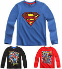 Boys Superman T Shirt Kids Top Long Sleeve Cotton Tee New Age 4 5 6 8 10 Years