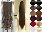 One piece 5 Clip in Hair Extensions long new dark light color back waist length