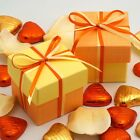 Orange and Lemon Silk Two Tone Square Box & Lid Wedding Favour Party Boxes