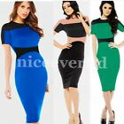 Patchwork Shift Pencil Wiggle Formal Business Office Party Bodycon Dress E641