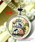 9Styl echoose New Fashion Enamel Birdcage Necklace Quartz Pocket Watch Xmas gift