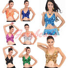HOT Sexy Women Adjustable Belly Dance Costume Butterfly Sequin Top Bra Colors