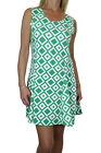 ICE (3986-3) Womens Mod Scooter Shift Mini Dress Diamond Colour Green Cream 6-16