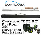 Cortland DESIRE 4-pce Fly Fishing Rod with Greys GX500 Reel & 3 Loaded Fly Lines
