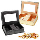 Jewellery Trinkets Display Box Travel Case Portable Organiser Gift Set + Mirror