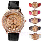 Womens Girls Decor Bling Crystal Pave Golden Case Quartz Analog Wrist Band Watch