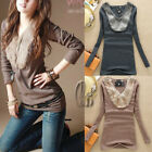 Sexy Womens Faux Fur Neck Cotton Basic Silm Blouse Top Shirt AU SELLER T060