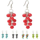 EH604 Turquoise Red Black Green Agate Gemstone 6mm Beads Grape Earrings