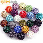 10mm Round CZ Crystal Rhinestones Pave Clay Disco Ball 10 Pcs Colors Pick