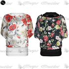 Womens Floral Chiffon Ladies Batwing Off Shoulder Gypsy Blouse 2 In 1 Vest Top