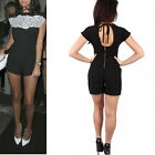 Sexy Floral Lace Chiffon Bodycon Bandage Club Party Slim Short Jumpsuit Romper