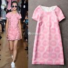 Women's Round Neck Short Sleeve Lady Classic Pink Lip Mini Zipper Dress Sundress