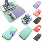 Leather pastel diary Card Pocket Wallet Case Cover For iPhone 5 5S 6 6 Plus