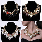Hot Fashion Gold Chain Faux Pearl Crystal Cluster Collar Statement Bib Necklace