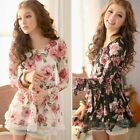 Chic Fashion Korean Lace Gauze Rose Floral Long Sleeve Casual Skirt Tunic  Dress