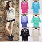 Womens Hollow Sweet Lace Crochet Floral Loose Blouse Tee Shirt Knit Top Pullover