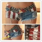 Sexy Denim Low Waist Stars Stripes American Flag Mini Shorts Jeans Hot Pants New