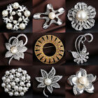 Designer Faux Pearl Rhinestone Bouquet Silver Gold Tone Brooch Pin Jewelry Gift