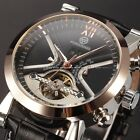 Forsining Mens Automatic Mechanical Date Day 4 Colors Leather Wrist Watch Gift