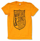 "MUMFORD & SONS ""SHIELD TOUR AUG-SEPT ON YELLOW"" JUNIORS T-SHIRT NEW OFFICIAL"