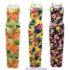 NEW WOMENS CELEB TROPICAL PRINT VEST LADIES STRAPPY RACER BACK SUMMER MAXI DRESS