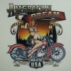 AMERICAN DREAM PIN-UP GIRL MADE IN THE USA EST 1903 T-SHIRT BIKER MUSCLE EAGLE