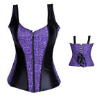 Sexy Strap Purple Zip Lace Up Overbust Corsets and Basques Lingerie UK 6-16 H3
