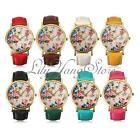 Antique Women Peony Flower Print Dial Leather Analog Quartz Wrist Watch Gift