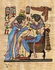 "Egyptian Papyrus Painting - Tut and Wife 7X9"" + Hand Painted + Description #43"